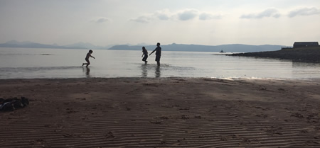 playing on beach applecross